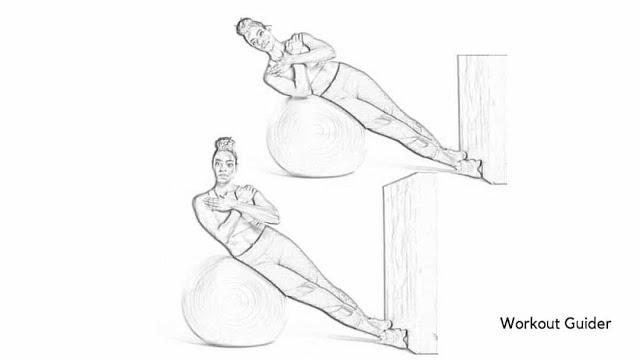 Stability ball side lifts core workout