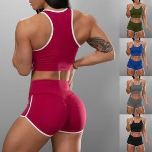 Yoga Sports Suits Sport Bra+High Waist Fitness Shorts