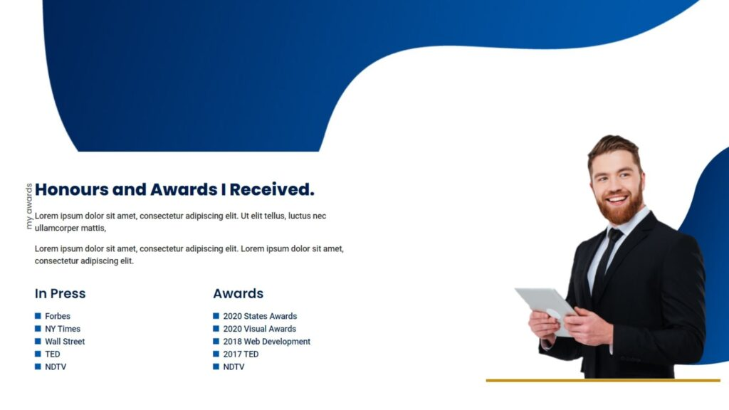 Awards Section Of Portfolio website template 100% free download